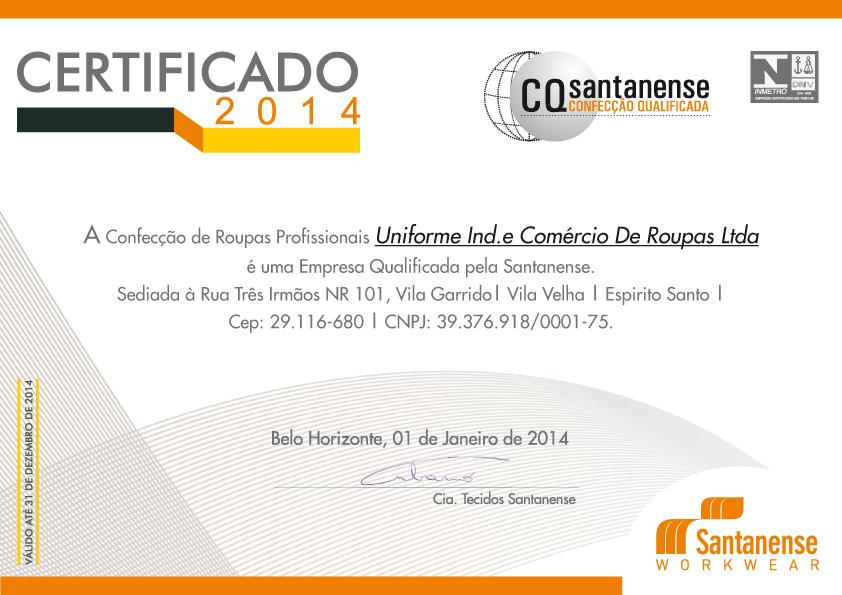 Certificado Confecção Qualifcada - Uniforme .cdr